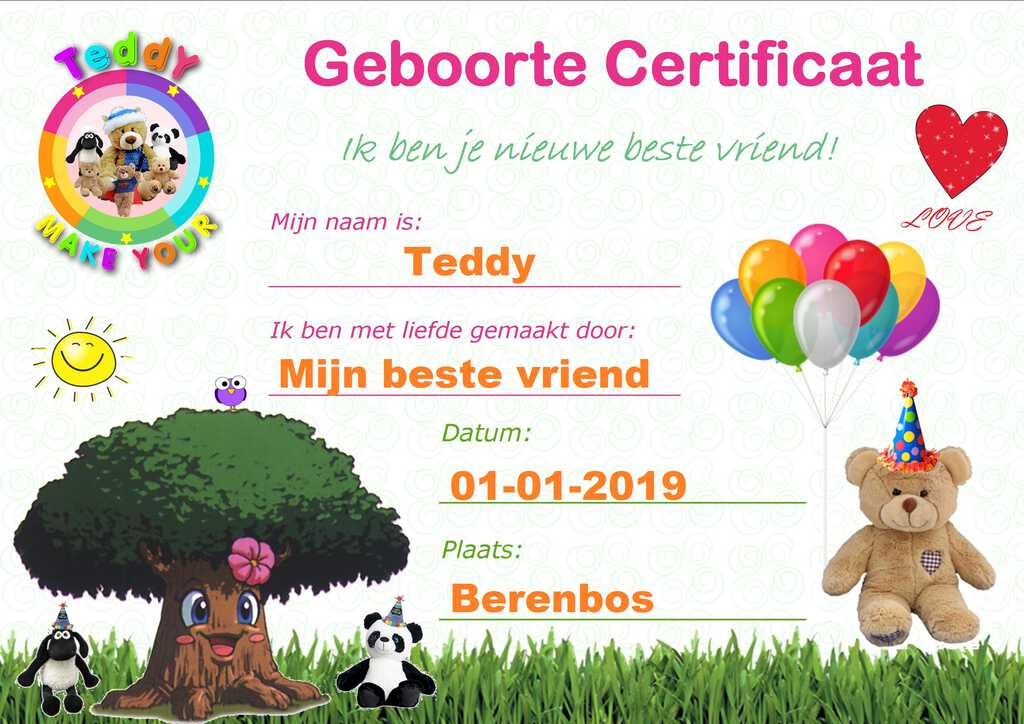 Geboorte Certificaat Make-Your-Teddy. Ik ben je beste nieuwe knuffel vriend!