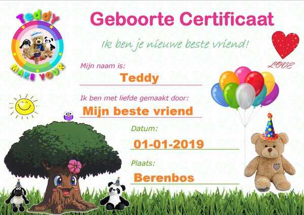 Geboorte certificaat Make-Your-Teddy Knuffels maken
