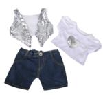"""Zilver Glitter vest & Hart Shirt met Denim broekje 16"""" - 40cm"""