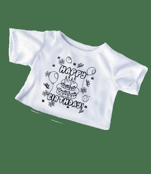Kleur T-shirt, Happy Birthday, , Teddybeer, Knuffelbeer, Knuffelbeest, Knuffeldier, DIYKNUFFEL, DIY-KNUFFEL, Knuffel-Maken, Knuffelmaken, Zelf-Knuffel-Maken, Knuffelwinkel, knuffelstore, knuffelshop, onlineknuffelwinkel, online-Knuffelwinkel, Make-your-Teddy, Teddy-Mountain,