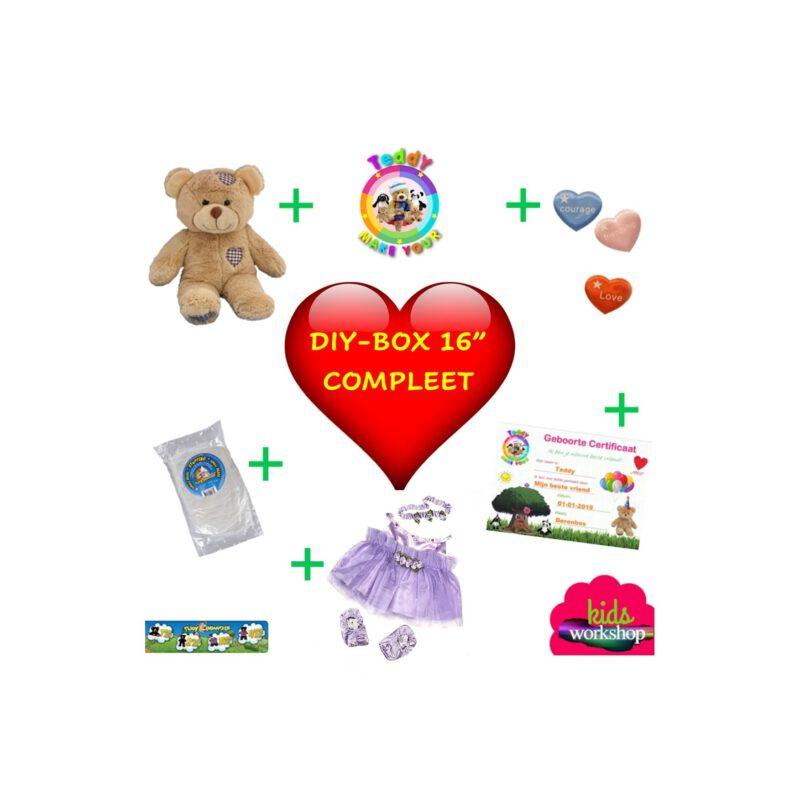 DIYBOX 16 inch COMPLEET, Teddybeer, Knuffelbeer, Knuffelbeest, Knuffeldier, Knuffeltje, Teddybear, DIYKNUFFEL, DIY-KNUFFEL, Knuffel-Maken, Knuffelmaken, Zelf-Knuffel-Maken, Knuffelwinkel, knuffelstore, knuffelshop, onlineknuffelwinkel, online-Knuffelwinkel, webwinkel, webshop, online, Make-your-Teddy, Build, Bear, Teddybear, Teddy-Mountain,