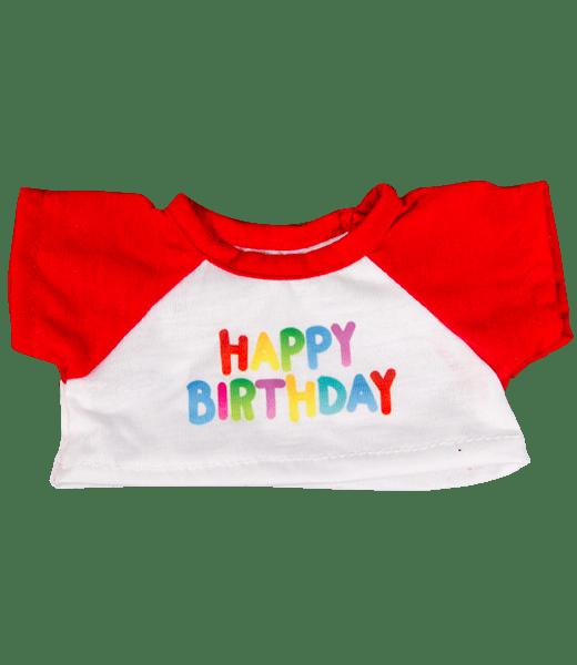 Happy Birthday T-Shirt Rood, Teddybeer, Knuffelbeer, Knuffelbeest, Knuffeldier, Knuffeltje, Teddybear, DIYKNUFFEL, DIY-KNUFFEL, Knuffel-Maken, Knuffelmaken, KNUFFEL MAKEN, Zelf-Knuffel-Maken, Knuffelwinkel, knuffelstore, knuffelshop, onlineknuffelwinkel, online-Knuffelwinkel, webwinkel, webshop, online, Cadeau, Geschenk, Gift, Kado, Kids, Kinderen, Kinderfeest, Kidsworkshop, Workshop, Make-your-Teddy, Build, Bear, Teddybear, Teddy-Mountain,