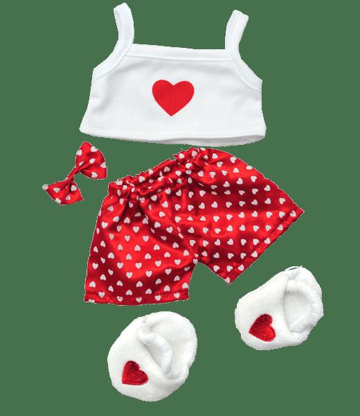 """Satijn, Hart, Pyjama, Outfit, ,knuffels ,knuffelbeest ,knuffeldier ,knuffel ,teddiebeer ,teddy ,teddie, teddybeer ,teddybear, bear, plush, Stuffed Animals, Unstuffed, Unstuffed Plush, Plushies, teddymountain, build your bear, Helmond, Nederland, zelf knuffel maken, maak je knuffel, www.makeyourteddy.nl, Shop Online, Webshop, Online Knuffels, Teddybeer, Knuffelbeer, Knuffelbeest, Knuffeldier, Knuffeltje, Teddybear, DIYKNUFFEL, DIY-KNUFFEL, Knuffel Maken, Knuffel-maken, Zelf-Knuffel-Maken, Knuffelwinkel, knuffelstore, knuffelshop, onlineknuffelwinkel, online-Knuffelwinkel, Berenshop, Berenstore, Berenwinkel, Teddybeerwinkel, Cuddle, Build A Teddy Bear, Oberhausen, Duitsland, België, Berenfijn, Beregoed, Berengoed, Atelier, Winkel, Webwinkel, Webshop, Brandstore, Speelgoedwinkel, Speelgoed, Toys, Trend, Online, Cadeau, Geschenk, Gift, Kado, Kids, Kinderen, Kinderfeest, Verjaardagsfeest, Geslaagd, Verjaardag, Partijtje, Feest, Vakantiepark, Bungalowpark, Camping, Animatie, Team, Kidsworkshop, Kidsparty, Kinder, Kinderen, Peuters, Kleuters, Kids, Kindercadeau, Workshop, Make-your-Teddy, Build, Your, Bear, Teddybear, Teddy-Mountain, CE, Keurmerk, Kindveilig, Getest, Kwaliteit, 8"""", 16"""","""